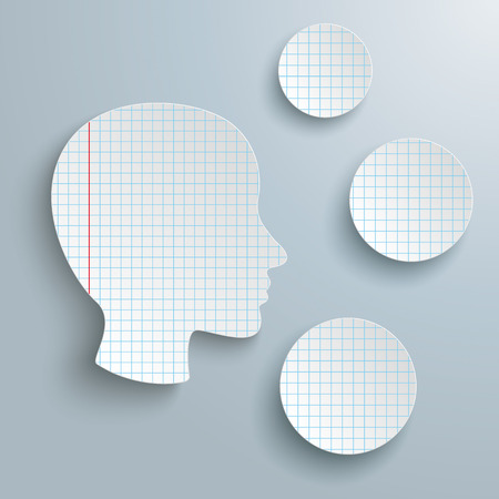head paper: Checked paper in human head shape and 3 circles on the gray background. Eps 10 vector file. Illustration
