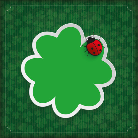 Vintage cover with sharmock and ladybug for St. Patricks Day. Eps 10 vector file.