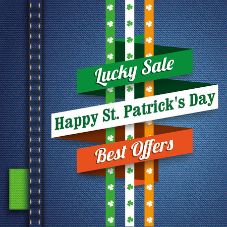 jeans background: Ribbon on the jeans background for St. Patricks Day Sale. 10 vector file.