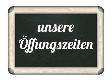"""Duitse tekst """"unsere Oeffnungszeiten"""" vertalen """"Openingstijden"""". Eps 10 vector-bestand."""