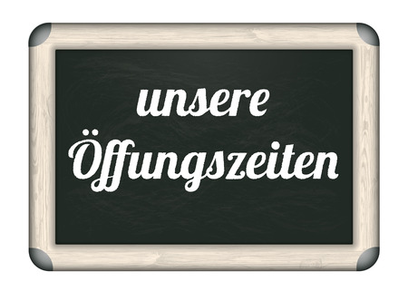 trading board: German text unsere Oeffnungszeiten, translate Opening Hours. Eps 10 vector file.