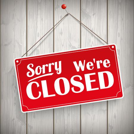 """Rode hangende bord met de tekst """"Sorry, we zijn gesloten"""". Eps 10 vector-bestand. Stock Illustratie"""