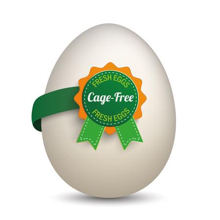 gamme de produit: Egg avec l'étiquette et le texte Cage-libre et des oeufs frais. Eps 10 fichier vectoriel. Illustration