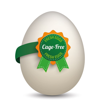 free range: Egg with label and text Cage-Free and Fresh Eggs. Eps 10 vector file. Illustration