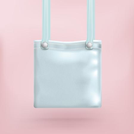 pocket book: Azure blue purse on the pink background. Eps 10 vector file. Illustration
