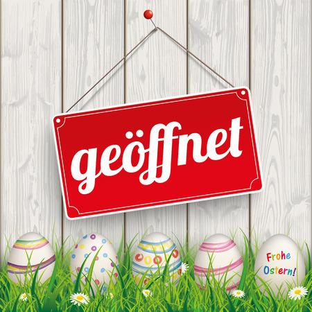 ostern: German text geoeffnet, Frohe Ostern, translate open, Happy Easter. Eps 10 vector file.