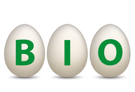 onlineshop: 3 natural eggs with text Bio. Eps 10 vector file. Illustration