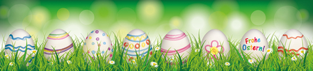 German text Frohe Ostern, translate Happy Easter. Eps 10 vector file.
