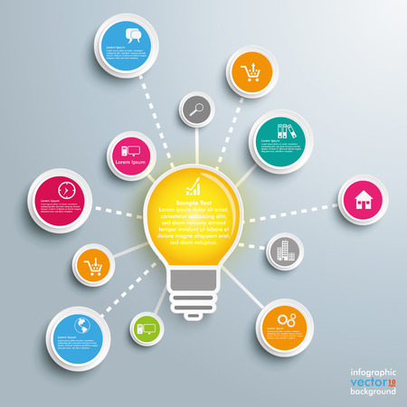 outsourcing: Infographic design with bulb, network and circles on the gray background. Eps 10 vector file. Illustration