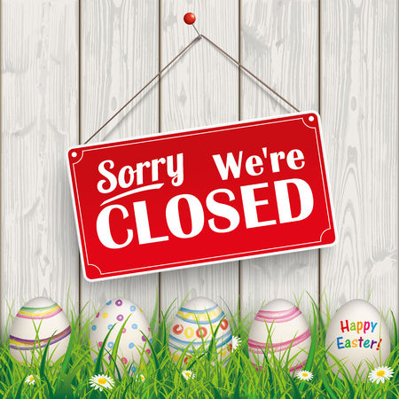 shop opening hours: Easter eggs, with red hanging sign and text sorry, were closed.  Eps 10 vector file. Illustration