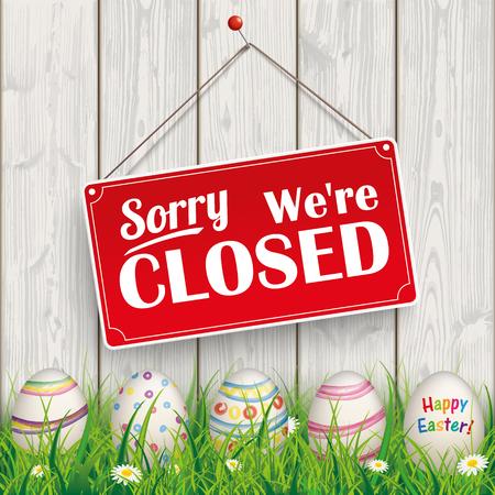 """Uova di Pasqua, con il segno appeso rosso e testo """"mi dispiace, siamo chiusi"""". Eps 10 file vettoriale."""