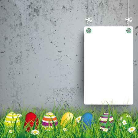Green grass with colored easter eggs and white boards on the concrete background. Eps 10 vector file.