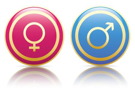 Mannelijke en vrouwelijke gouden knopen op de witte achtergrond. Eps 10 vector-bestand.