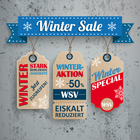 retail sales: German text WSV, Stark Reduzierte Angebote, translate Winter Sale, Reduced Prices. Eps 10 vector file. Illustration