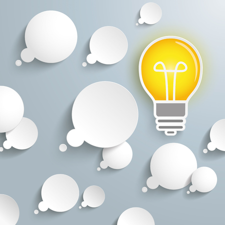 think tank: Thought bubbles with bulb on the gray background. Eps 10 vector file.