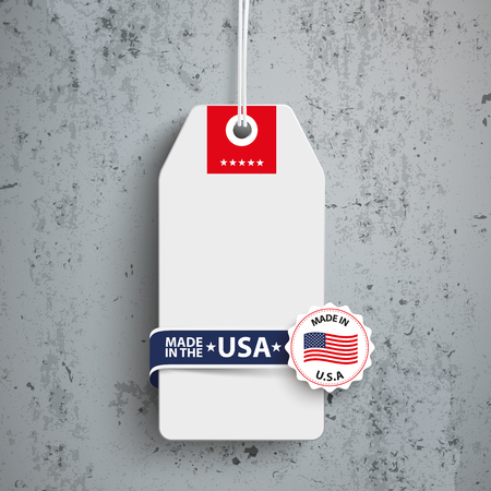 controll: Price sticker with label and text Made in USA. Eps 10 vector file.