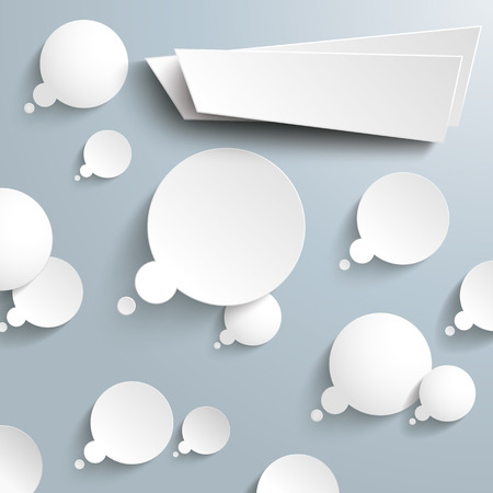think tank: Thought bubbles with paper banner on the gray background. Eps 10 vector file.