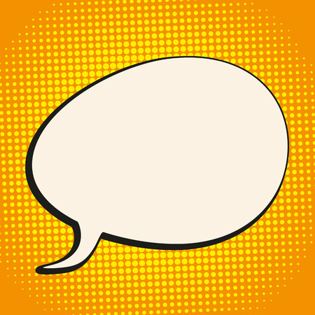 bevel: Comic speech bubble with halftone retro background. Eps 10 vector file. Illustration