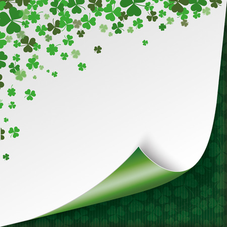 17th of march: Vintage cover with shamock scrolled corner for St. Patricks Day. Eps 10 vector file. Illustration