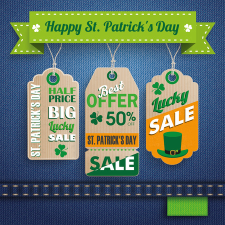ire: 3 price stickers on the jeans background for St. Patricks Day Sale. 10 vector file. Illustration