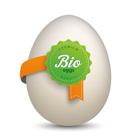 onlineshop: Egg with bio label on the white background.  Eps 10 vector file.