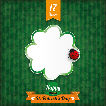 ire: Vintage cover with ribbon, shamrock, ladybird and frame for St. Patricks Day. Eps 10 vector file.