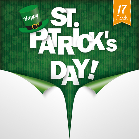 ire: Vintage cover with shamock and 2 scrolled corner for St. Patricks Day. Eps 10 vector file.