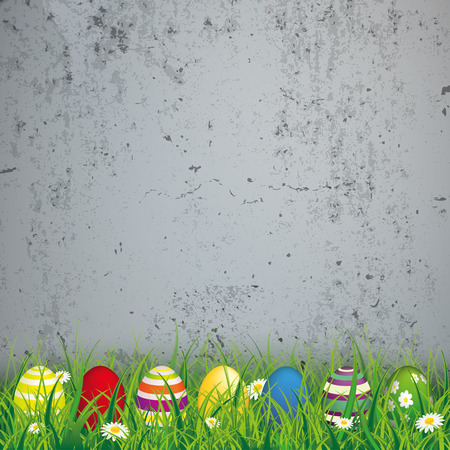 concrete background: Green grass with colored easter eggs on the concrete background. Eps 10 vector file.