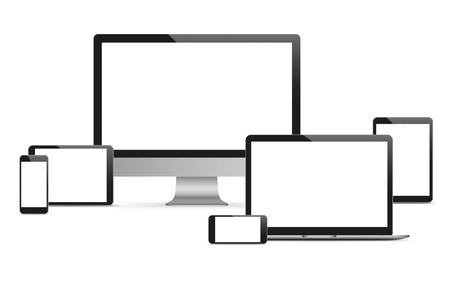 tft: Set of realistic monitor, notebook, tablets and smartphones on the white background. Eps 10 vector file.