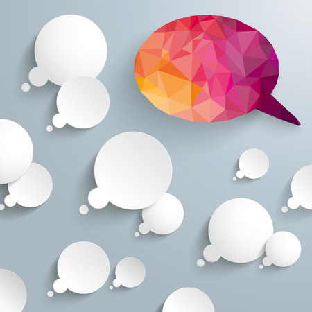 think: Thought bubbles with big low poly speech bubbles on the gray background. Eps 10 vector file. Illustration