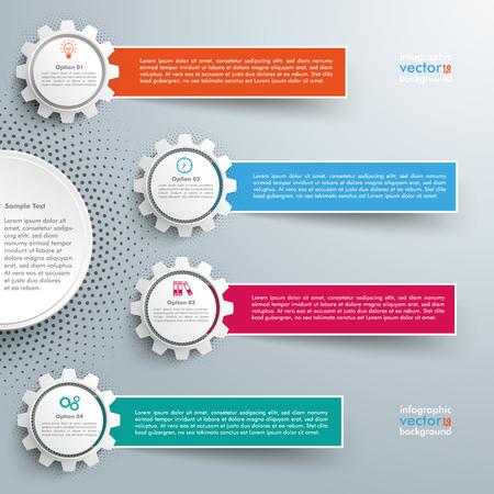 Diseño infográfico con engranajes y pancartas en el fondo gris. Eps 10 archivo vectorial.