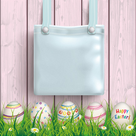 pocket book: Purse on the wooden background with easter eggs in the grass.  Eps 10 vector file.