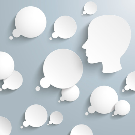 notion: Thought bubbles with human head on the gray background. Eps 10 vector file.