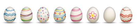 8colored easter eggs on the white. Eps 10 vector file.