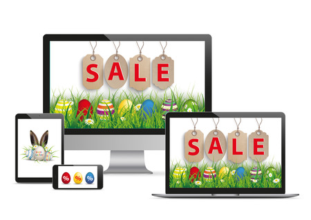 onlineshop: Set of realistic monitor, notebook, tablet and phone with for the easter sale on the white background. Eps 10 vector file.