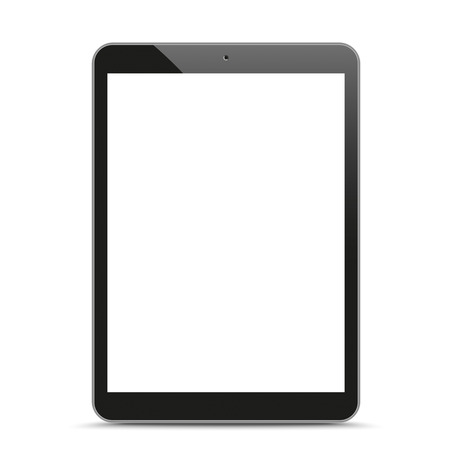 Black tablet pc with blank screen and shadow on the white background.