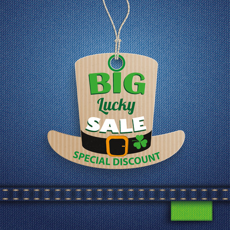 ire: Price sticker on the jeans background for St. Patricks Day Sale. 10 vector file.