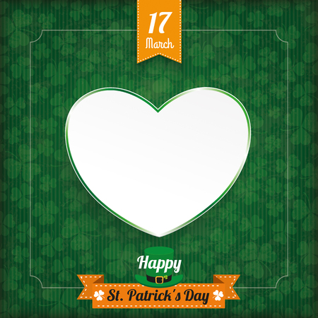 17th: Vintage cover with ribbon, heart and frame for St. Patricks Day. Eps 10 vector file.