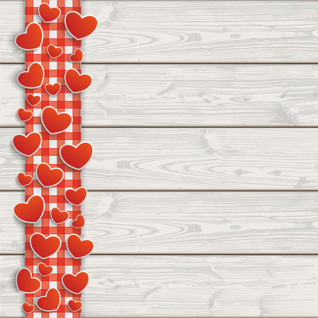 mother day: Red checked tablecloth with hearts on the wooden background. Illustration