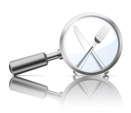 quest: Loupe with knife and fork on the white background.