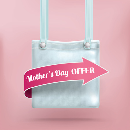 pocket book: Shopping bag with arrow and text Mothers Day Offer. Illustration