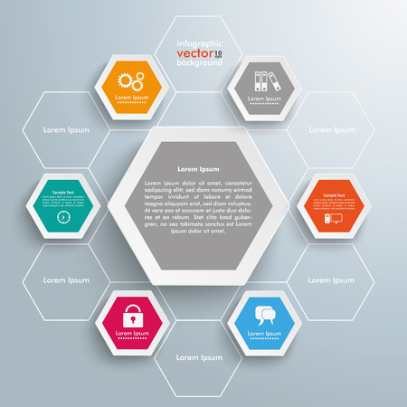 mechanism: Infographic design with hexagons on the gray background.