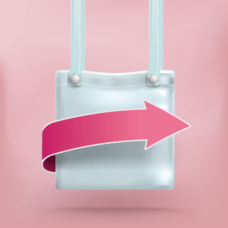pocket book: Shopping abg with pink arrow. Illustration