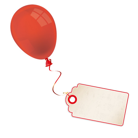 red balloon: Price sticker with red balloon on the white background.