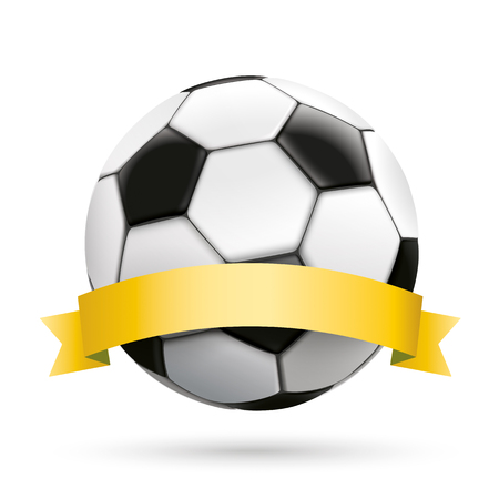 golden ribbon: Football with golden ribbon on the white background.