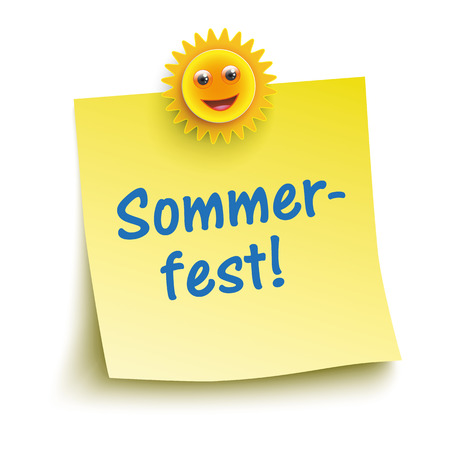 """Deutsch Text """"Sommerfest"""", zu übersetzen """"Summer Party"""". Illustration"""