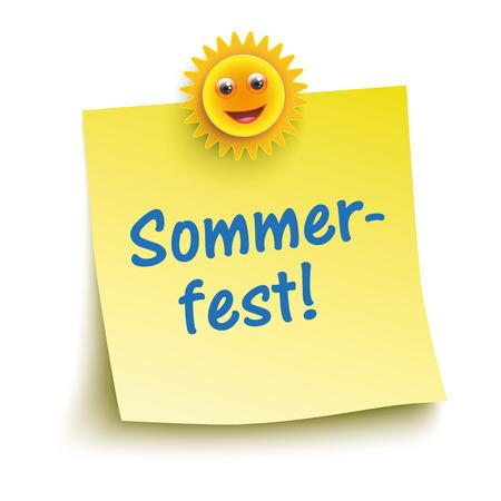 """Duitse tekst """"Sommerfest"""" vertalen """"Summer Party"""". Stock Illustratie"""