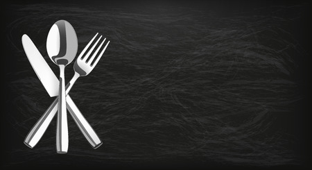 knife fork: Long blackboard background with knife, fork and spoon. Illustration