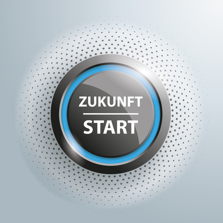 """Button with german text """"Zukunft Star"""", translate """"Future Start"""", on the gray background."""