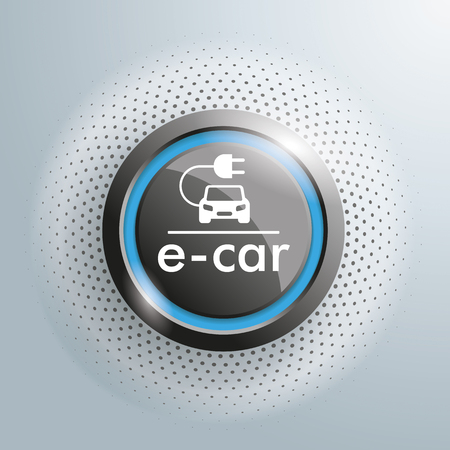 time drive: Button with e-car symbol on the gray background. Illustration